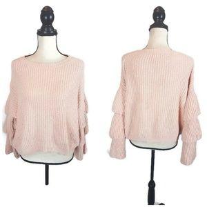 NWT Woven Heart Blush Pink Ruffle Sleeve Sweater